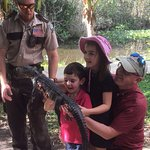 Kids were so happy to hold a real alligator!