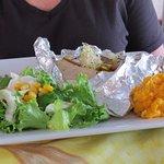 Fish, potatoes and salad