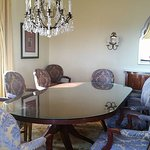 Very large dining table in the room.