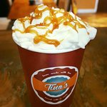Caramel latte with cream and toffee topping. Beautiful. xx
