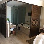 Large bathroom, separate toilet area.