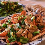 Delicious stir fried lobster in a spring onion and ginger sauce