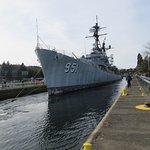 ex USS Turner Joy entering the locks.