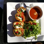 Veggie Wrap with tomato soup and Salad