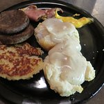 Potato Pancake, sausage patties, biscuit and pepper gravy, ham