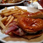 Bacon (American) Cheeseburger with french fries.