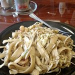 House noodles, stir fry with shrimp