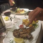 simply served veal chop platter