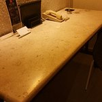 Large genuine marble writing desk and nice bright high intensity lighting.