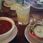 Conch Chowder, Margarita, Side Salad