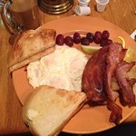 """2 eggs $8 special!!! Fresh homemade bread and """"REAL"""" bacon"""