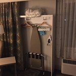 The 'closet' in a mobility room. The large floor area in the bathroom. Nice king bed. Power shad