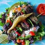 gilled steak kebab with Oaxacan marinade