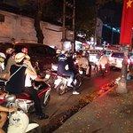 The motror bikes at night