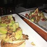Brie apple crostini and ahi tuna nachos
