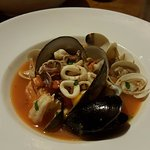 Seafood soup loaded with fresh prawns, squid rings, clams and shelled mussels