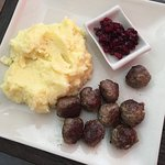 Gluten free (sans gravy) Swedish meatballs with lingonberries and mashed potatoes ...so good!!