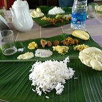 "Amazing vegetarian sandhya (traditional kerala meal) at their 4 bedroom houseboat called ""tamari"