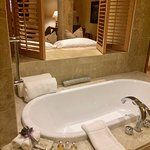 Our lovely big bath tub with Molton Brown amenities