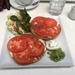 My Usual - toasted bagel, cream cheese and tomato with lots of extras.