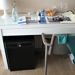 Desk, mini-fridge