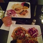 Bon Mi tacos (far plate) Chicken tostadas (near plate)