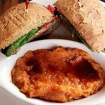 The turkey burger on 7 grain bun with mashed sweet potatoes.