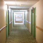 The hotel was clean overall, but the hall carpets were worn and dated.