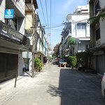 In front of Studio 18 - viewing towards this little quiet street. Within 5 mins you reach Sukhum