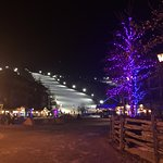 view of the ski hill at night