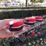 Trio of ladybug macarons. Darling but expensive at $10 for three, and a bit too chewy for me.