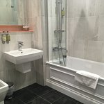 Good size bathroom, decent shower too
