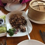 Salt and chilli prawns, salted chilli pork, duck and pancakes and a view inside.