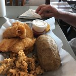 Fishermans Platter with fried flounder, oysters, and baked potato!