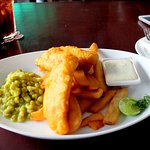My lunch...battered cod with steak chips and mushy peas!!