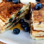 Buttermilk pancakes with local blueberries