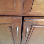 Cabinets were worn and unsightly.