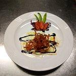 Ottimo e nuovo piatto! Tortelloni di patate con aceto balsamico e mortadella fritta... da provar
