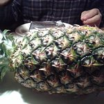Whole pineapple presented for dinner