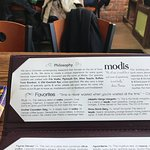 Restaurant philosophy and a few drink descriptions