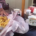 Enjoying our Fish and chips, and lovely cup of tea at Thames