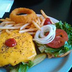 Cheeseburger and Fries, with one of my Wife's Onion Rings.