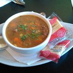 Cup of Beef Barley Soup.