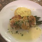 The halibut cheeks were fantastic. They were cotes with an asiago cheese crust and topped with d