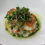 Seared whitefish with seasonal risotto