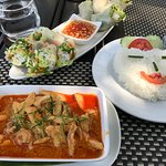 Panang Chicken Curry with Sticky rice & Fresh Spring rolls