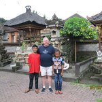 Me and Kadek's sons at the family's temple in their home