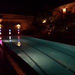 Nice night lights by the swimming pool