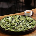 Basil pesto chicken pizza
