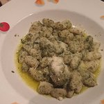 Gnocchi with pesto sauce; disappointingly bland